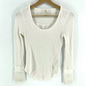 Free people waffle knit long sleeve w buttons
